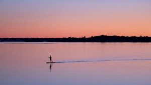 A man paddles a stand up paddle board toward shore on the Ottawa river Tuesday October 8, 2019 in Ottawa. (THE CANADIAN PRESS/Adrian Wyld)