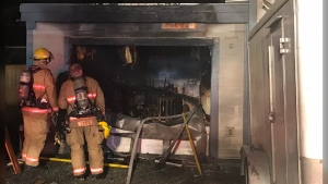 There were no injuries and the fire was contained to the garage. (Saanich Fire Department)