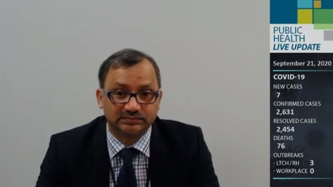Windsor-Essex medical officer of health Dr. Wajid Ahmed in Windsor, Ont., on Monday, Sept. 21, 2020. (Courtesy WECHU / YouTube)
