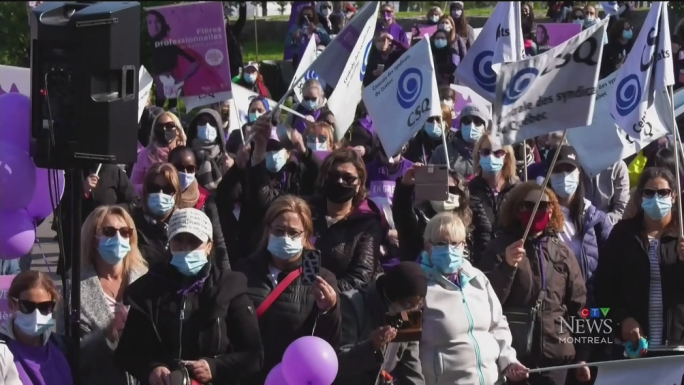 Quebec home daycare workers on strike