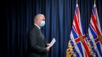 Premier John Horgan arrives to a news conference at Legislature in Victoria, Wednesday, Sept. 9, 2020. (Chad Hipolito / THE CANADIAN PRESS)