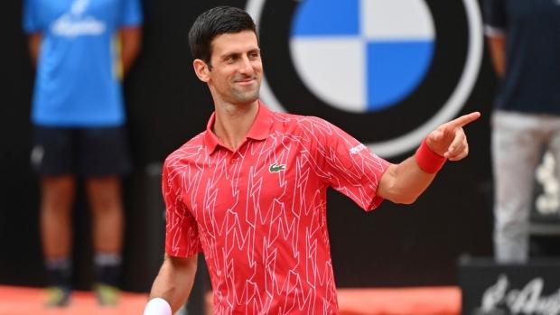 Novak Djokovic at the Italian Open tennis tournament, in Rome, on Sept. 21, 2020. (Alfredo Falcone / LaPresse via AP)
