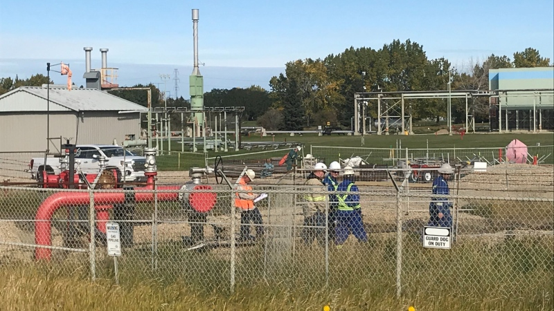 ATCO responded to a plant in south Edmonton after reports of a strong gas smell. Sept. 21, 2020. (Brandon Lynch/CTV News Edmonton)