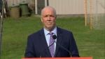 NDP Leader John Horgan speaks to media from Langford, B.C., on Monday, Sept. 21, 2020.