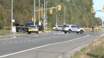 Emergency services attend the scene of a serious collision on Mitch Owens Rd. in Greely on Monday, Sept. 21, 2020.