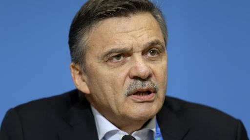 International Ice Hockey Federation President Rene Fasel answers a question during a news conference addressing hockey issues at the 2014 Winter Olympics, Tuesday, Feb. 18, 2014, in Sochi, Russia. (The Canadian Press)