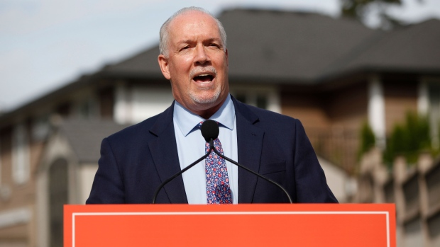 Premier John Horgan announces there will be a fall election as he speaks during a press conference in Langford, B.C., on Monday September 21, 2020. THE CANADIAN PRESS/Chad Hipolito