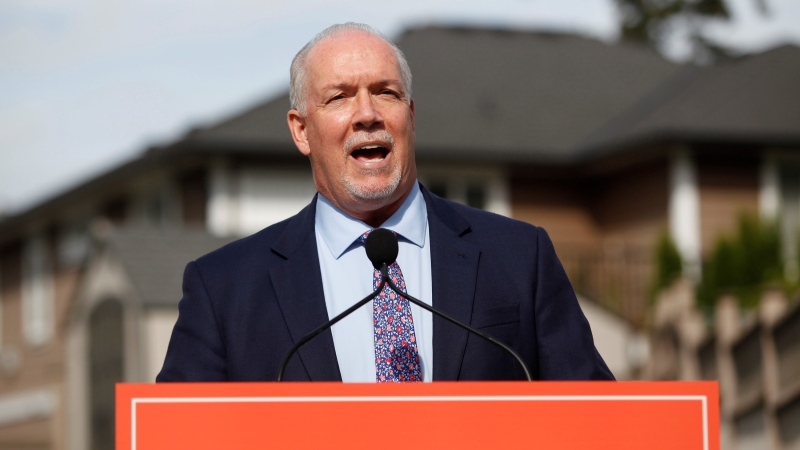 John Horgan announces there will be a fall election as he speaks during a press conference in Langford, B.C., on Monday, Sept. 21, 2020. (Chad Hipolito / THE CANADIAN PRESS)