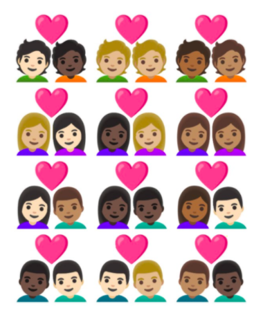 The new emojis include a range of couples from a variety of backgrounds. (Unicode)