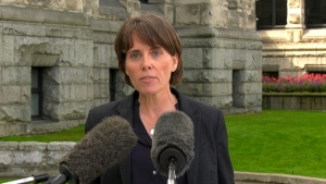 B.C. Green Leader Sonia Furstenau outside the B.C. legislature in Victoria on Sept. 21, 2020. (CTV News)