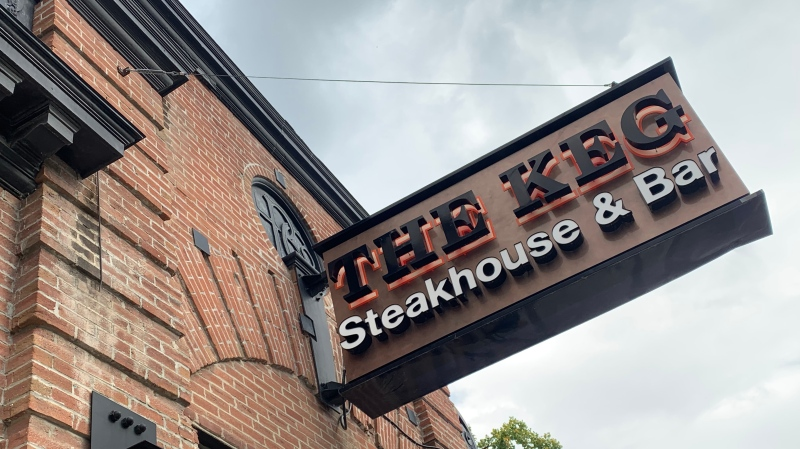 The Keg Steakhouse and Bar on Garry Street in Winnipeg. (Source: Danton Unger/ CTV News Winnipeg)