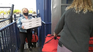 Pizzas being delivered from the 'Pizza for Boyle Street campaign.' Monday Sept. 21, 2020 (CTV News Edmonton)
