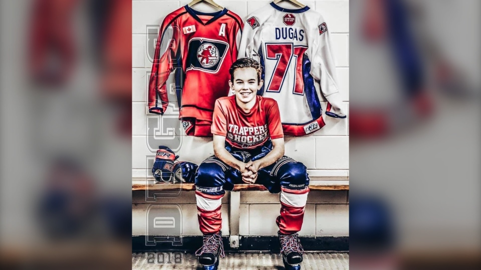 Noah Dugas, a 13-year-old defenceman who played for the North Bay Trappers major peewee AAA team, is battling some serious health issues, and the hockey world is showing its support for the young man. (Supplied)