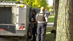 A dog and several people were injured after a dog fight in south Edmonton on Sept. 21, 2020. (Sean Amato/CTV News Edmonton)