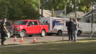 Police and Medavie Health Services attended a collision between a woman and a pickup truck at the intersection of Lorne Avenue and 8th Street East. Ryan Fletcher/CTV Saskatoon