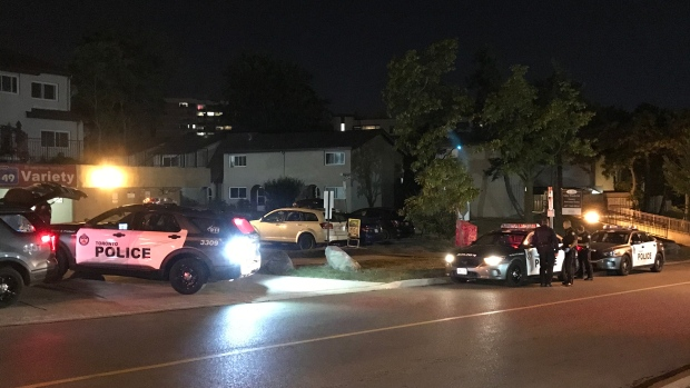 Police are seen in Parkwoods after a stabbing left a male victim with serious injuries on Sept. 21, 2020. (Mike Nguyen/CP24)