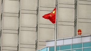 The Chinese flag flies at the country's consulate in New York on July 30, 2020. (John Nacion/NurPhoto via AP)