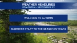 Sept. 22 weather headlines