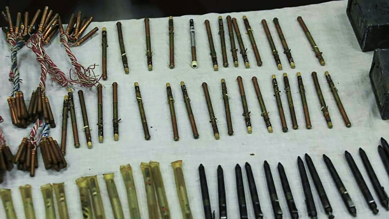 A stash of pen guns found by Afghan authorities on display in the capital. (AFP)