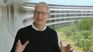 Apple CEO Tim Cook (pictured September 15, 2020 in an Apple Inc handout image) said that wildfires raging on the U.S. West Coast, hurricanes slamming the South, and flooding in the Northeast and Mid-Atlantic make a compelling case for climate change. (AFP)