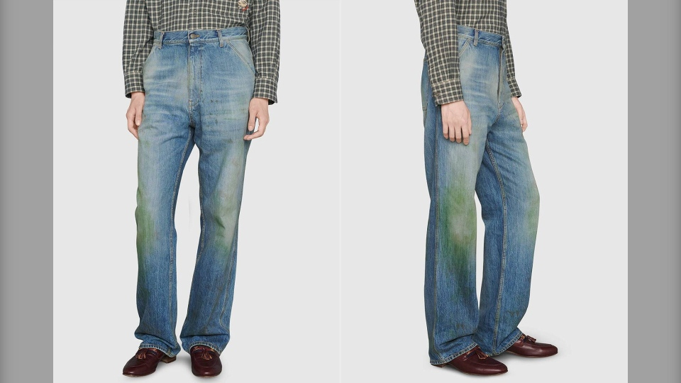 Gucci also launched a pair of wide-leg jeans in the U.K. with the same stained-like effect as part of its men's fall/winter 2020 collection. (Courtesy Gucci)