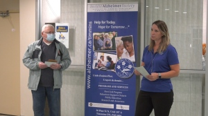 Claude Martel receives an award from Timmins Alzheimer's Society. Sept. 21/20 (Lydia Chubak/CTV Northern Ontario)