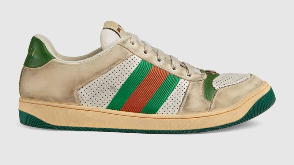 Last year, Gucci made headlines when it dropped already worn-in $1,085 men's and women's sneakers that were