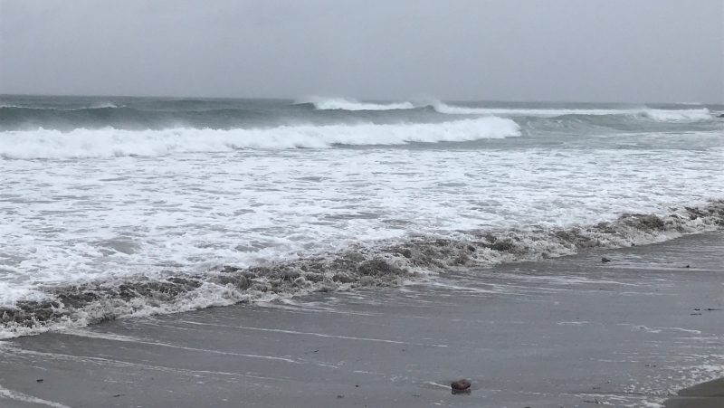Rough waves are seen at Nova Scotia's Lawrencetown Beach as Hurricane Teddy approaches the Maritimes on Sept. 22, 2020. (Carl Pomeroy/CTV Atlantic)