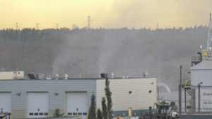 Fire crews responded to a recycling fire at Edmonton's Waste Management Centre on Sept. 22, 2020.
