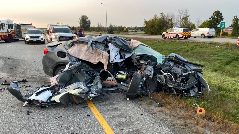 A 22-year-old man suffered traumatic injuries when a transport truck and a car collided on Hwy. 416 Tuesday morning. (Ottawa Paramedic Service)