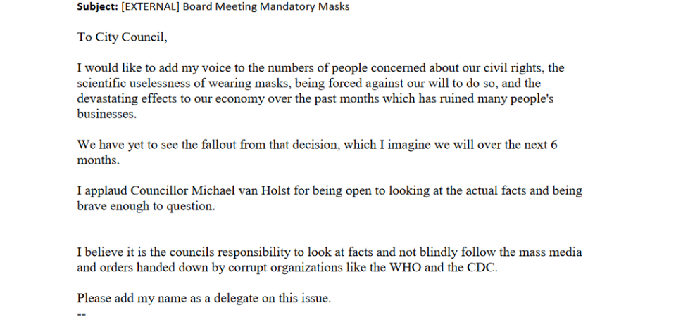 A excerpt from a letter submitted to the City of London calling regarding the mandatory face-coverings bylaw.