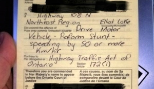 Police had a radar gun set up and caught the 50-year-old driver at 9:25 a.m. heading south, doing 170 km/h in an 80 km/h zone along Highway 108. (Supplied)