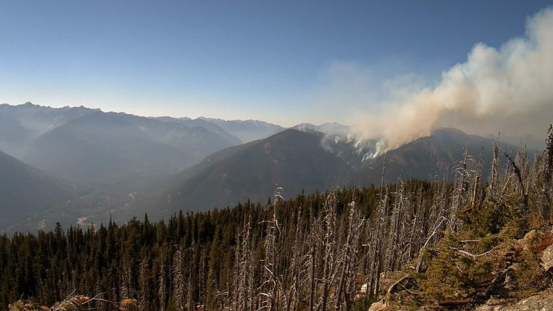 Talbott Creek fire, in B.C.'s Slocan Valley, on Sept. 11, 2020. (BC Wildfire Service/Twitter)
