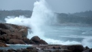Waves pound the shore in Peggy's Cove, N.S., on Tuesday, Sept. 22, 2020. Hurricane Teddy is expected to impact the Atlantic region starting mid-day as a post-tropical storm, bringing rain, wind and high waves. (THE CANADIAN PRESS/Andrew Vaughan)