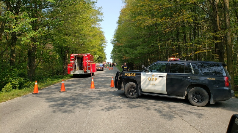 Emergencies crews are on scene after a dump truck hit a tree, killing the driver on Tuesday, September 22, 2020 (Courtesy OPP)