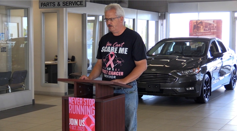 Cancer survivor Lonny Newland plans to take part in the CIBC Run for the Cure event Oct. 4. He was diagnosed with breast cancer in 2017. (Alana Everson/CTV News)