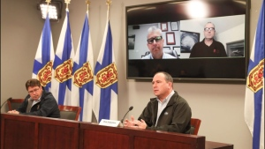 Nova Scotia Power chief operating officer Mark Sidebottom (right) answers a question during a briefing this morning with EMO and hurricane centre officials (COURTESY COMMUNICATIONS NOVA SCOTIA)