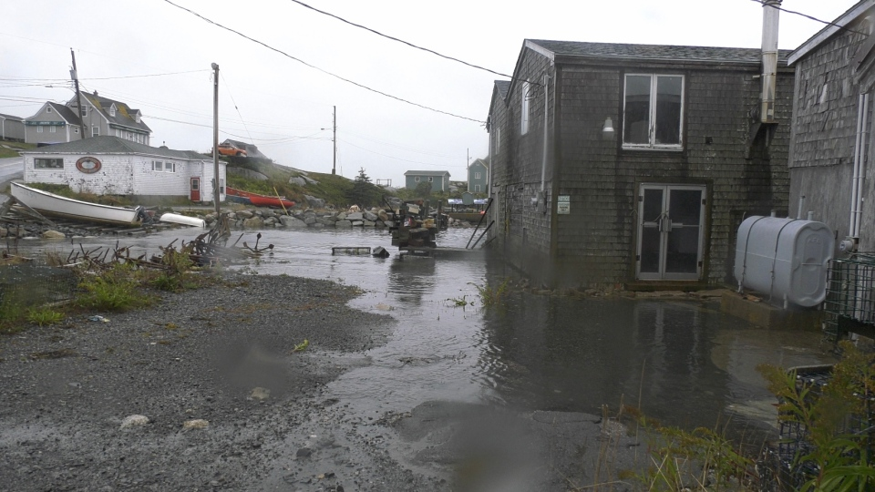 Some coastal flooding is seen in the Peggy's Cove area over the noon hour on Sept. 22, 2020. (Nick Moore/CTV Atlantic)