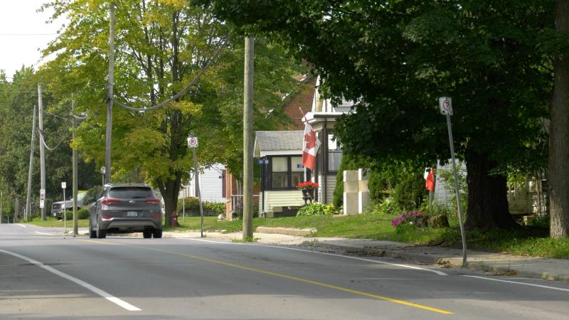 Houses along County Road 21 in Spencerville. (Nate Vandermeer/CTV News Ottawa)