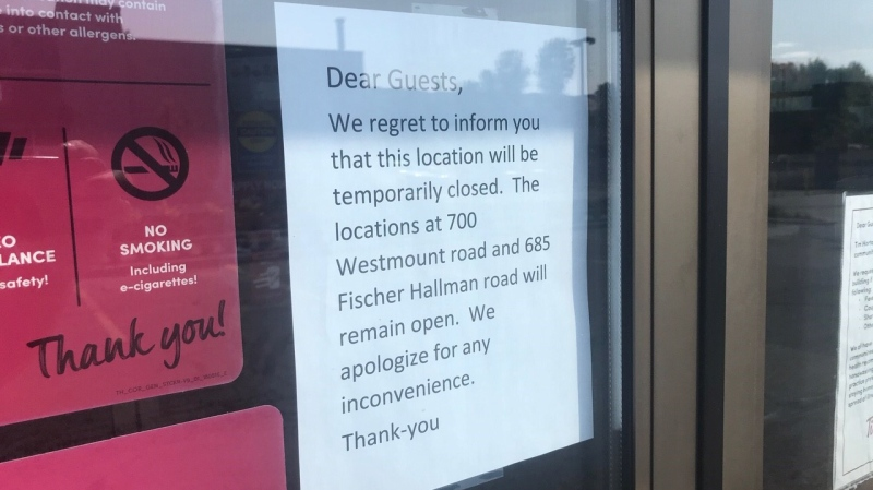 A sign on a Tim Hortons says it's temporarily closed (Dan Lauckner / CTV News Kitchener)