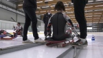 Members of Canada's luge team are still practicing, even though the track is closed for the season.