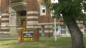 With five cases of COVID-19, Highlands Junior High School is under Alberta Health Services watch. Sept. 22, 2020. (Brandon Lynch/CTV News Edmonton)