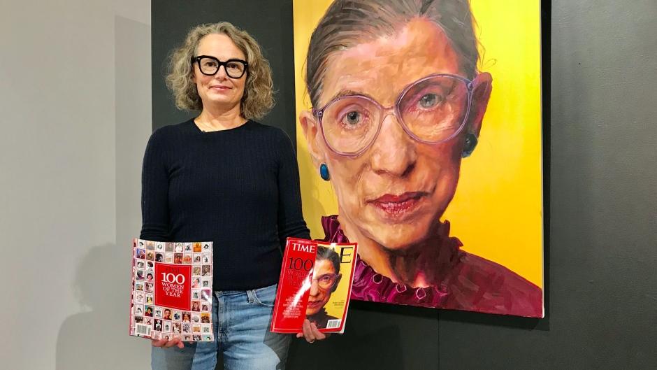 Shana Wilson stands next to her portrait of Ruth Bader Ginsberg. Tuesday Sept. 22, 2020 (Sean Amato/CTV News Edmonton)