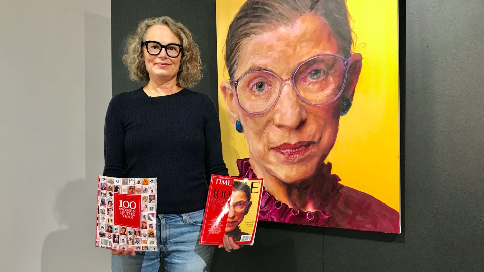 Shana Wilson stands next to her portrait of Ruth Bader Ginsberg. Tuesday Sept. 22, 2020 (Sean Amato/CTV News Edmonton)