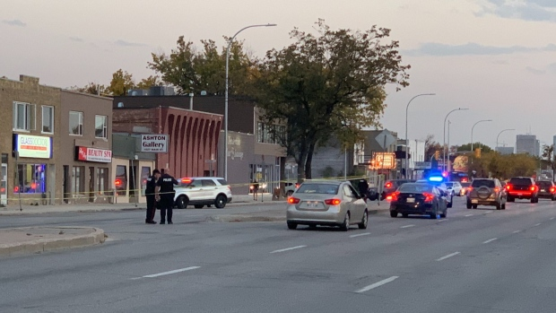 Winnipeg police close intersection after a vehicle collision on Sept. 22.  (Source: Jamie Dowsett/ CTV News Winnipeg)