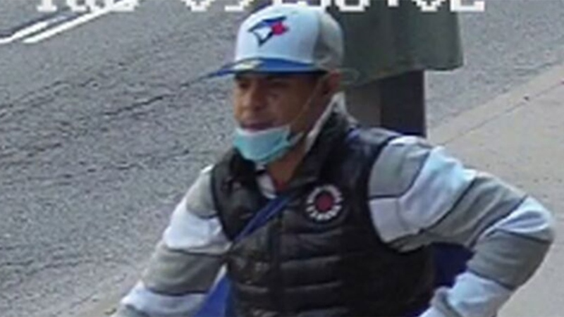 A suspect wanted in connection with a mischief investigation outside Eglinton Junior Public School is pictured. (Handout /Toronto police)