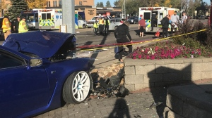 A crash at the intersection of 87 Avenue and 156 Street injured two people. Tuesday Sept. 22, 2020 (Galen McDougall/CTV News Edmonton)
