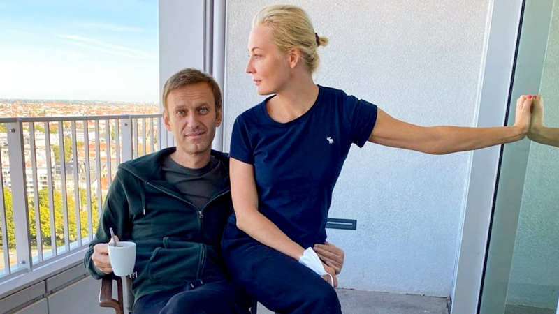 In this photo published by Russian opposition leader Alexei Navalny on his Instagram account on Monday, Sept. 21, 2020, Russian opposition leader Alexei Navalny and his wife Yulia pose for a photo in a hospital in Berlin. (Navalny Instagram via AP)