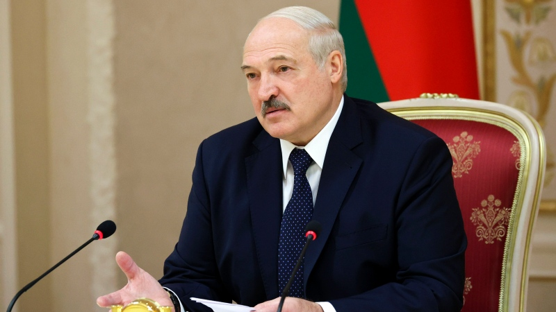 Belarusian President Alexander Lukashenko attends a meeting with Oleg Kozhemyako, governor of the far eastern region of Primorsky Krai of Russia in Minsk, Belarus, Tuesday, Sept. 22, 2020. (Maxim Guchek/BelTA Pool Photo via AP)