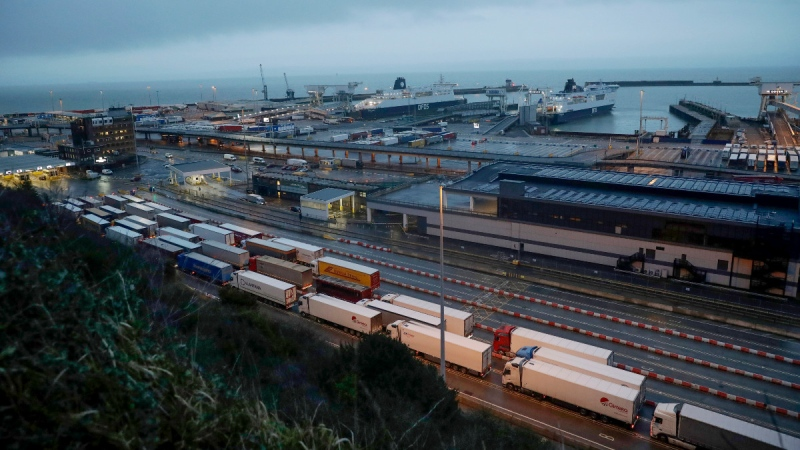 Trucks wait to board ferries on the morning after Brexit took place at the Port of Dover, in Dover, England, on Feb. 1, 2020. (Matt Dunham / AP)